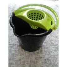 Műanyag mop felmosóvödör+csavaró 13,5l neon/fekete